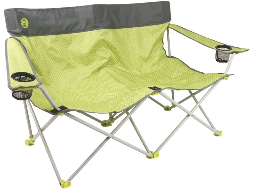 Coleman Quattro Lax Double Quad Camp Chair Polyester and Steel Green and Gray
