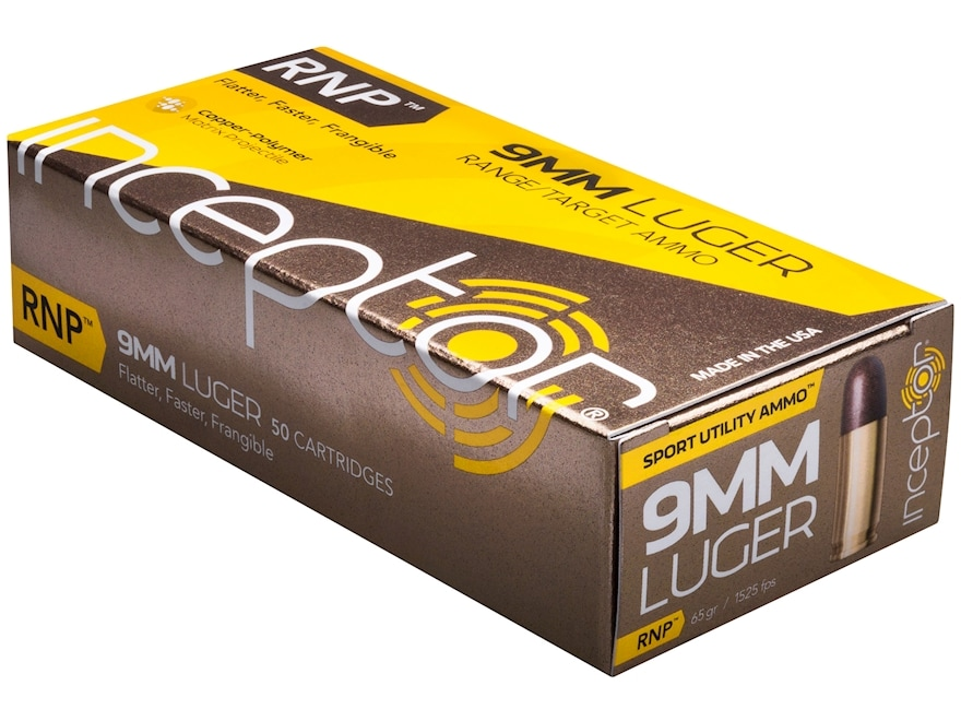 Inceptor Sport Utility Ammunition 9mm Luger 65 Grain RNP Frangible Lead-Free Box of 50