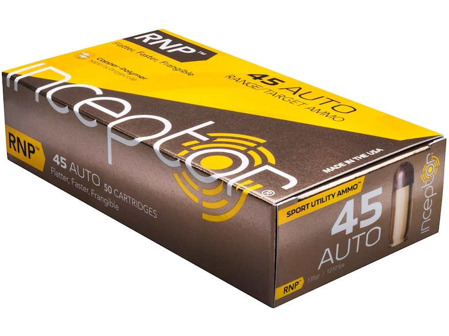 Inceptor Sport Utility Ammunition 45 ACP 135 Grain RNP Frangible Lead-Free Box of 50