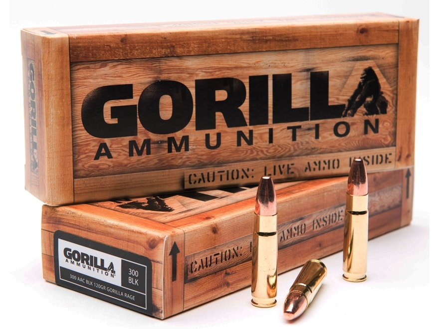Gorilla Rage Ammunition 300 AAC Blackout 120 Grain Plated Round Nose Box of 20