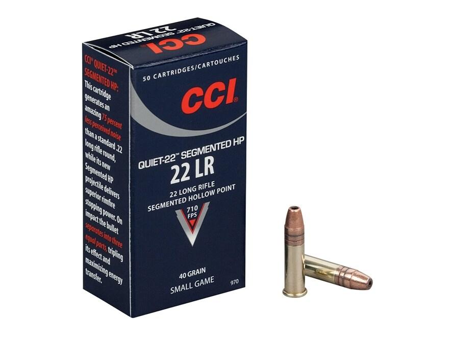 CCI Quiet Ammunition 22 Long Rifle Subsonic 40 Grain Segmented Lead Hollow Point