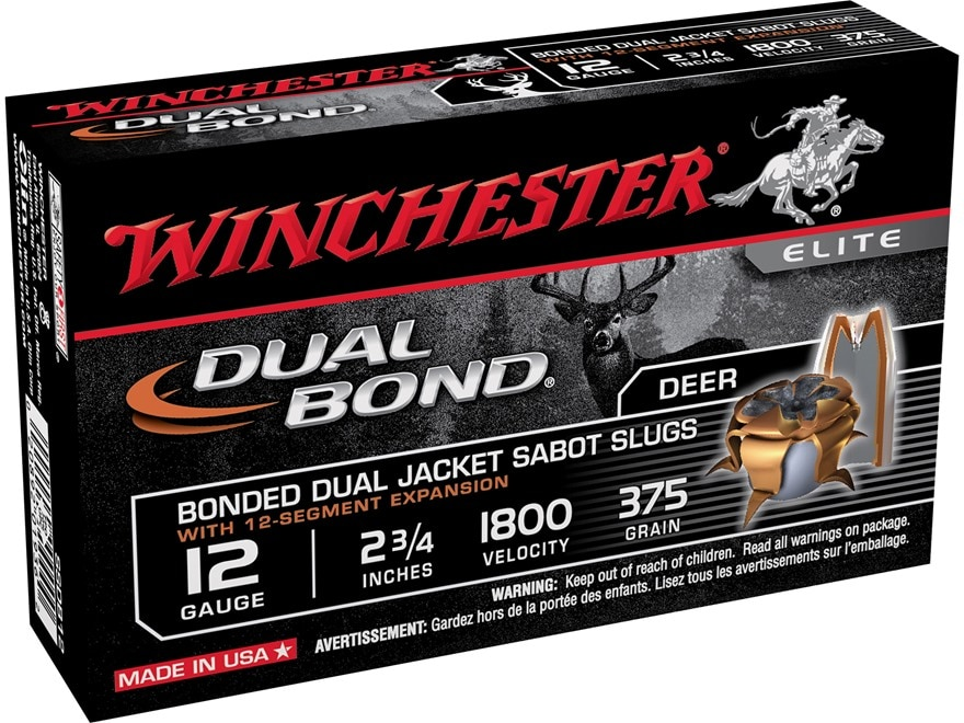 "Winchester Dual-Bond Ammunition 12 Gauge 2-3/4"" 375 Grain Jacketed Hollow Point Sabot Slug"