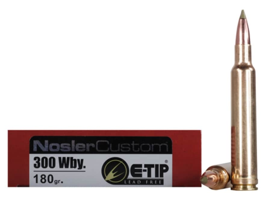 Nosler Trophy Grade Ammunition 300 Weatherby Magnum 180 Grain E-Tip Lead-Free Box of 20