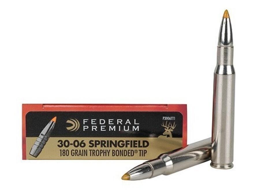 Federal Premium Vital-Shok Ammunition 30-06 Springfield 180 Grain Trophy Bonded Tip Box...