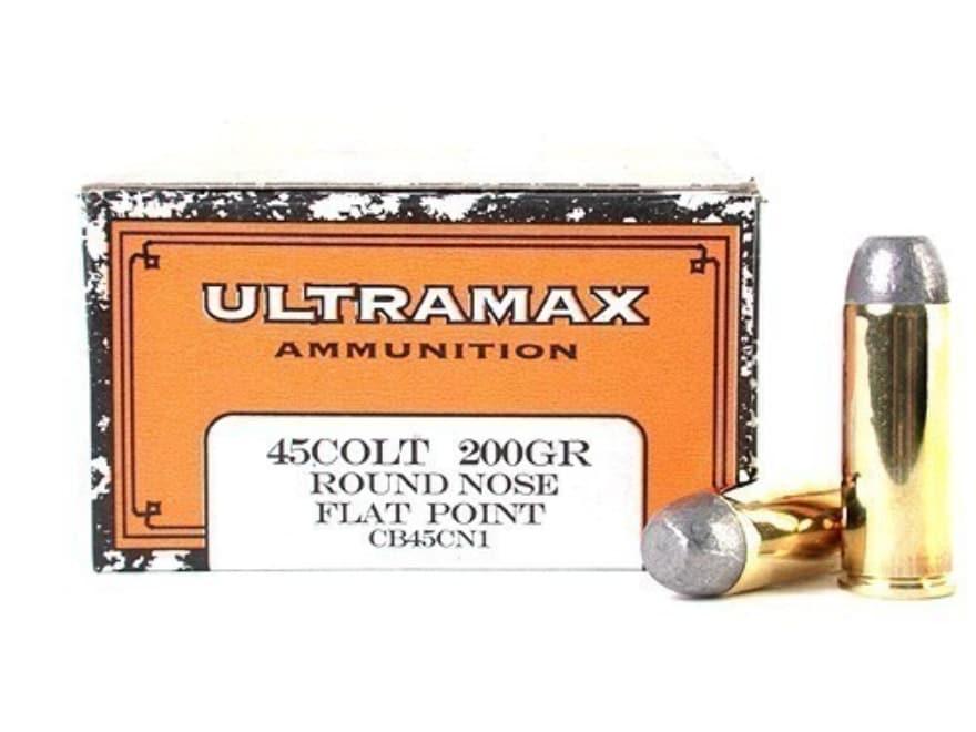 Ultramax Cowboy Action Ammunition 45 Colt (Long Colt) 200 Grain Lead Flat Nose Box of 50