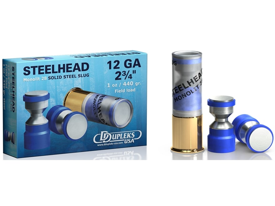"""DDupleks Steelhead Monolit 28 Ammunition 12 Gauge 2-3/4"""" 1 oz Solid Steel Slug Lead-Fre..."""