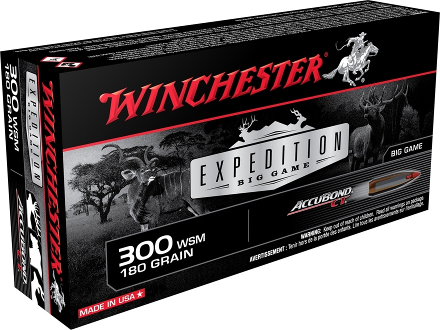 Winchester Expedition Big Game Ammunition 300 Winchester Short Magnum (WSM) 180 Grain N...
