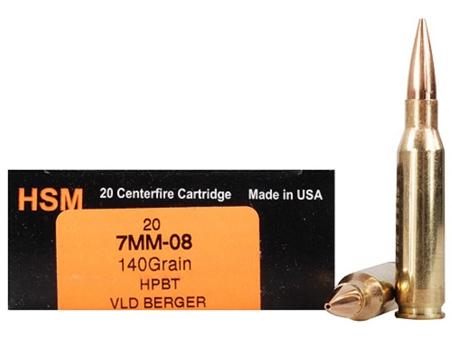 HSM Trophy Gold Ammunition 7mm-08 Remington 140 Grain Berger Hunting VLD Hollow Point B...
