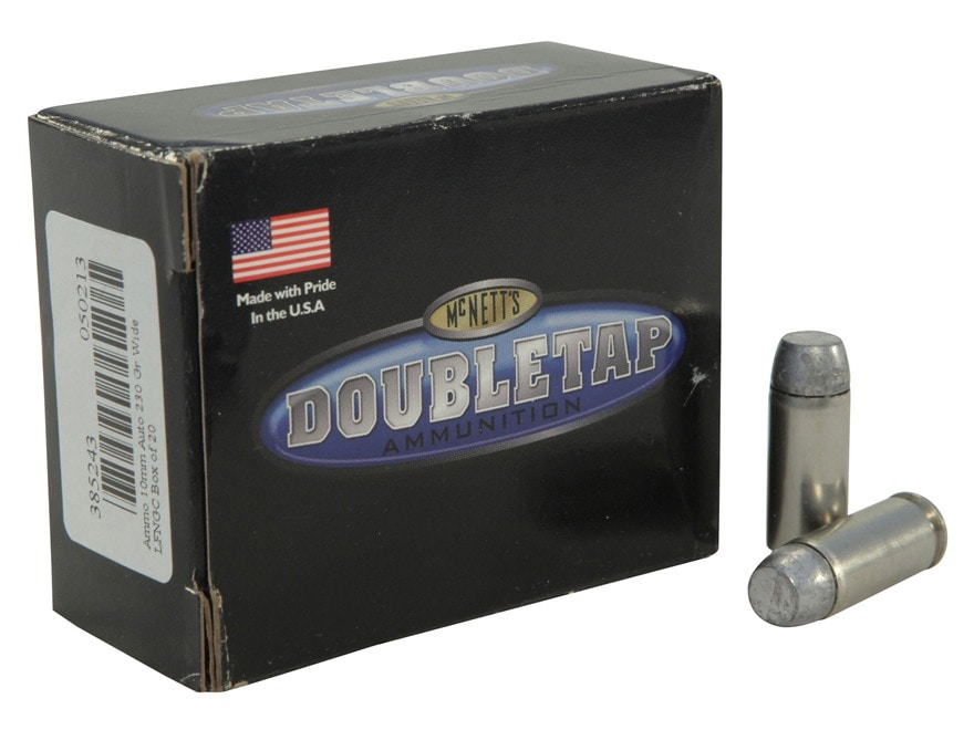 DoubleTap Ammunition 10mm Auto 230 Grain Hardcast Wide Flat Nose Gas Check Box of 20