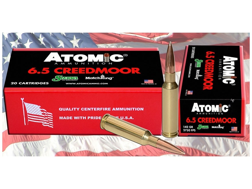 Atomic Ammunition 6.5 Creedmoor 142 Grain Sierra MatchKing Hollow Point Boat Tail Box o...