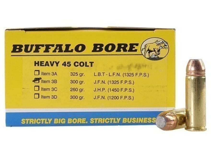 Buffalo Bore Ammunition 45 Colt (Long Colt) +P 300 Grain Jacketed Flat Nose