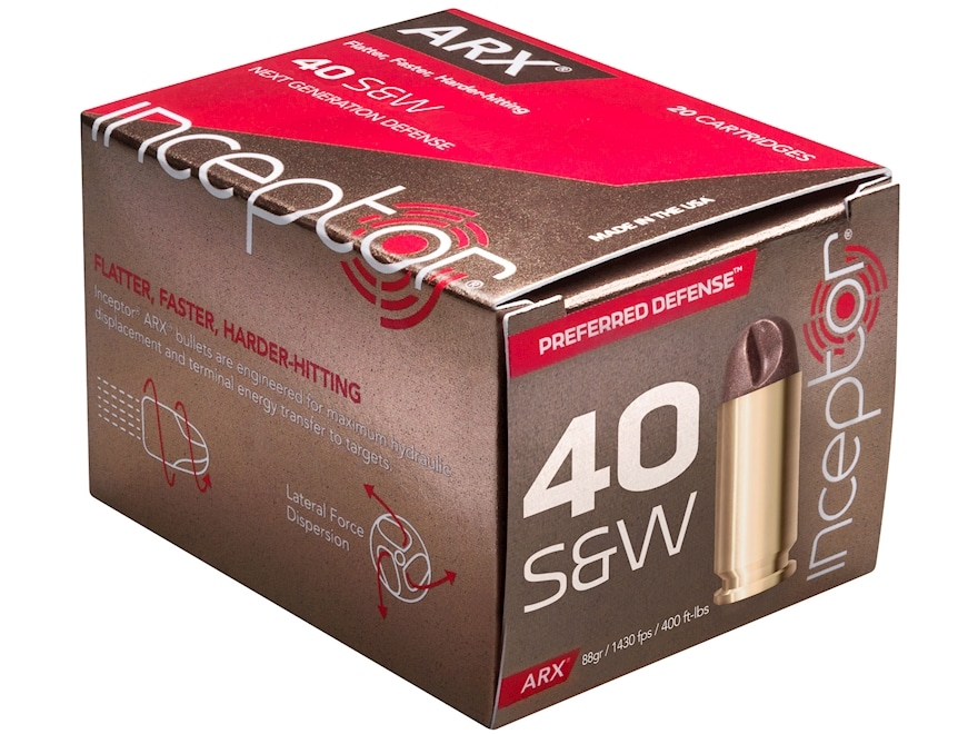 Inceptor Preferred Defense Ammunition 40 S&W 88 Grain ARX Frangible Lead-Free Box of 20