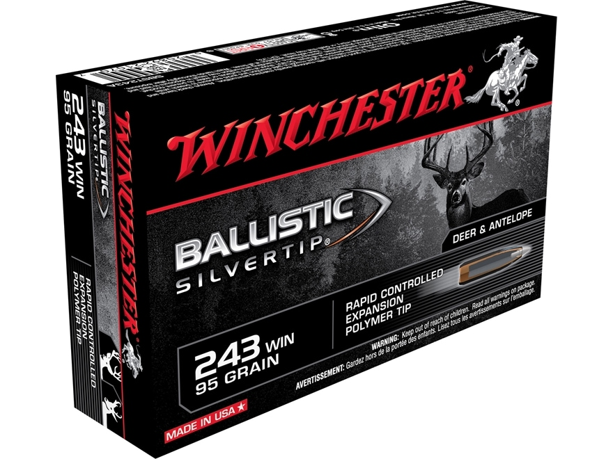 Winchester Ballistic Silvertip Ammunition 243 Winchester 95 Grain Rapid Controlled Expa...