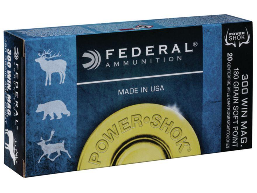 Federal Power-Shok Ammunition 300 Winchester Magnum 180 Grain Speer Hot-Cor Soft Point