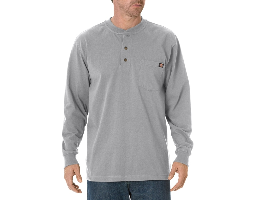 Dickies Men's Henley T-Shirt Long Sleeve Cotton Heather Gray XL