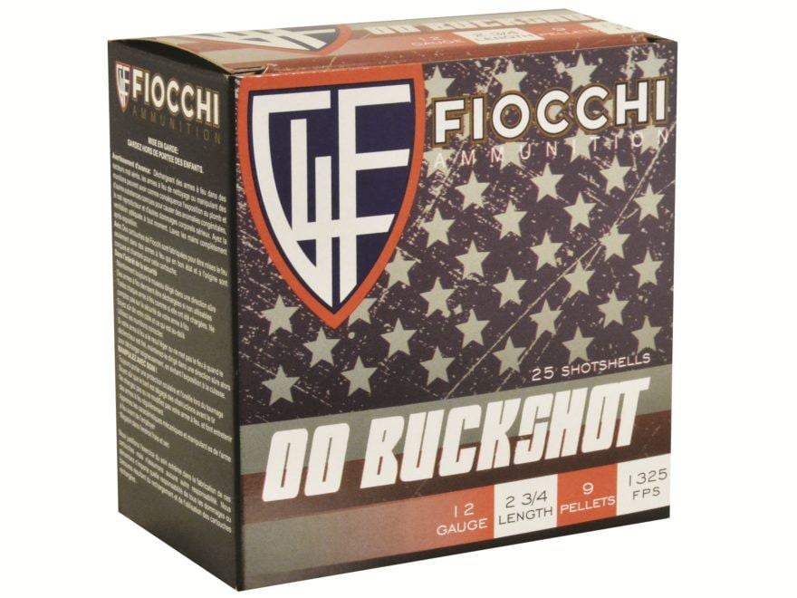 "Fiocchi Ammunition 12 Gauge 2-3/4"" 00 Buckshot 9 Pellets"