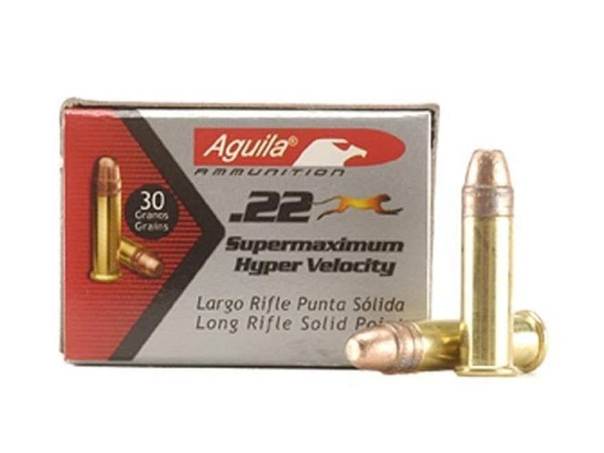 Aguila Super Maximum Ammunition 22 Long Rifle 30 Grain Plated Lead Round Nose