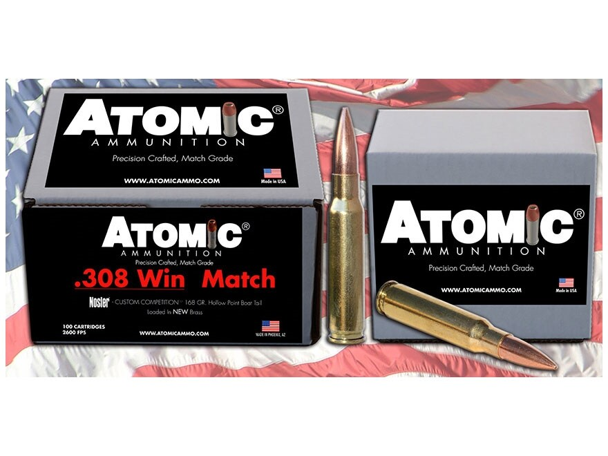 Atomic Match Ammunition 308 Winchester 168 Grain Nosler Custom Competition Hollow Point...