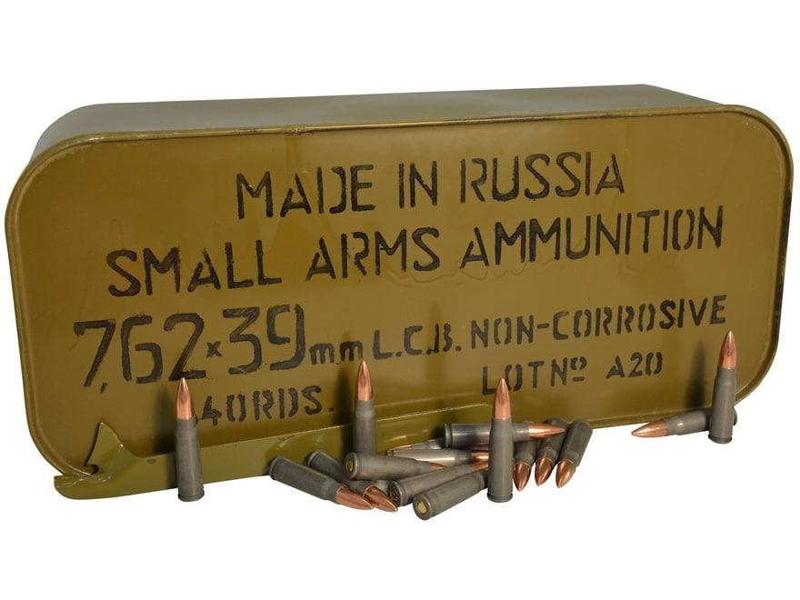TulAmmo Ammunition 7.62x39mm 122 Grain Full Metal Jacket (Bi-Metal) Steel Case Berdan P...