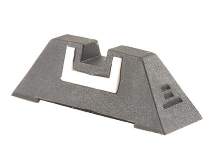 """Glock Square Rear Sight 7.3mm .287"""" Height Polymer Black White Outline"""