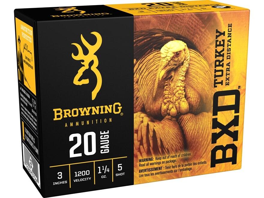 "Browning BXD Extra Distance Turkey Ammunition 20 Gauge 3"" 1-1/4 oz #5 Nickel Plated Shot"