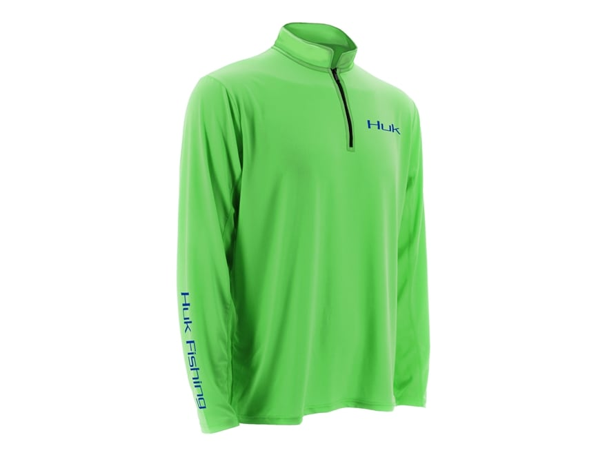 Huk Men's Icon 1/4 Performance Shirt Long Sleeve Polyester and Spandex Neon Green XL