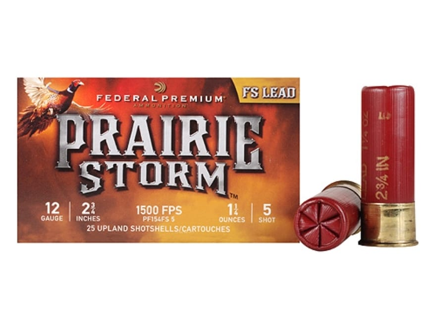 "Federal Premium Prairie Storm Ammunition 12 Gauge 2-3/4"" 1-1/4 oz #5 Plated Shot"