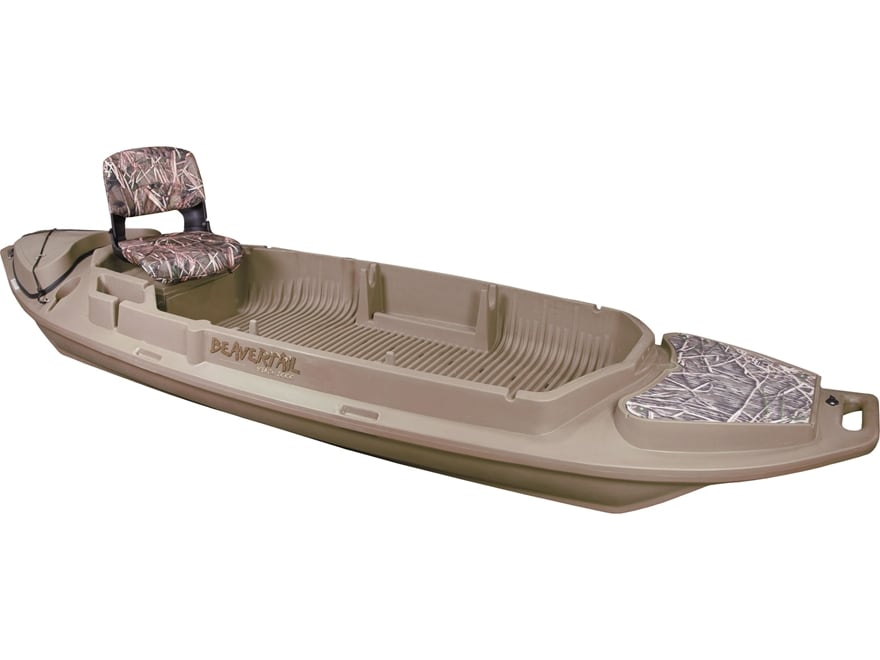 Beavertail Stealth 2000 Twin Gun 12' Sneak Boat with Motor Mount and Seat Marsh Brown