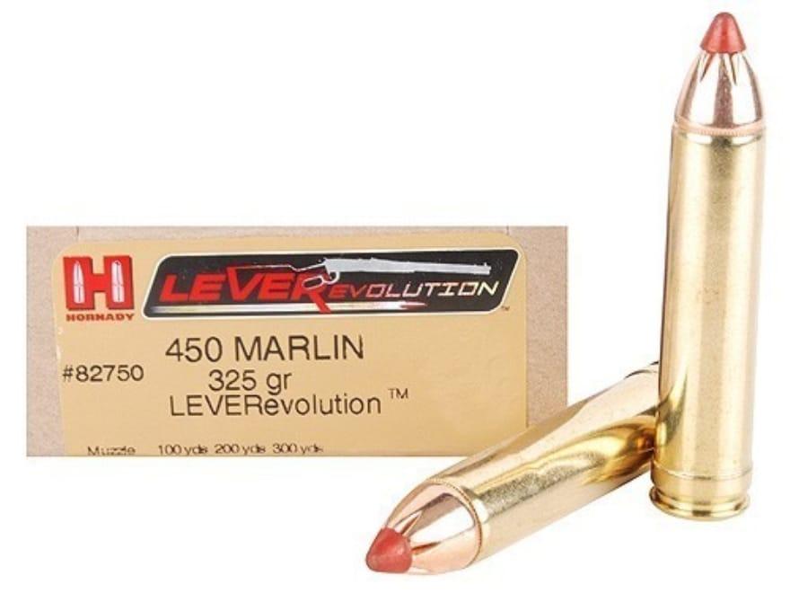 Hornady LEVERevolution Ammunition 450 Marlin 325 Grain Flex Tip eXpanding Box of 20