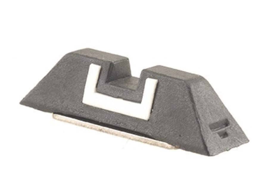 """Glock Square Rear Sight 6.1mm .240"""" Height Polymer Black White Outline"""
