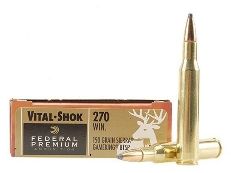 Federal Premium Vital-Shok Ammunition 270 Winchester 150 Grain Sierra GameKing Boat Tai...