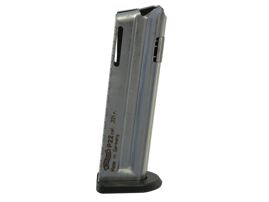 Walther Magazine P22 22 Long Rifle 10-Round Steel Nickel Plated