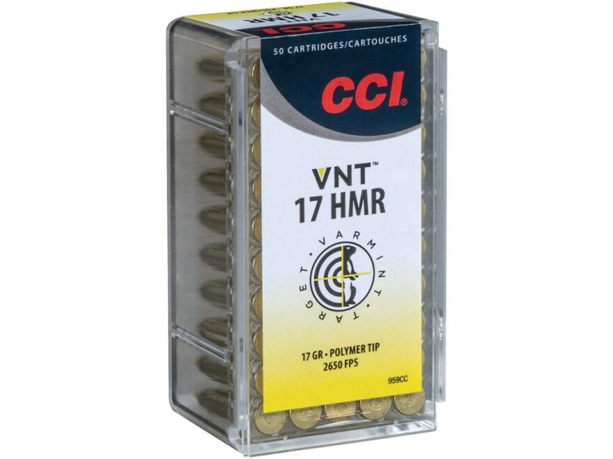 CCI VNT Ammunition 17 HMR 17 Grain Polymer Tipped Varmint