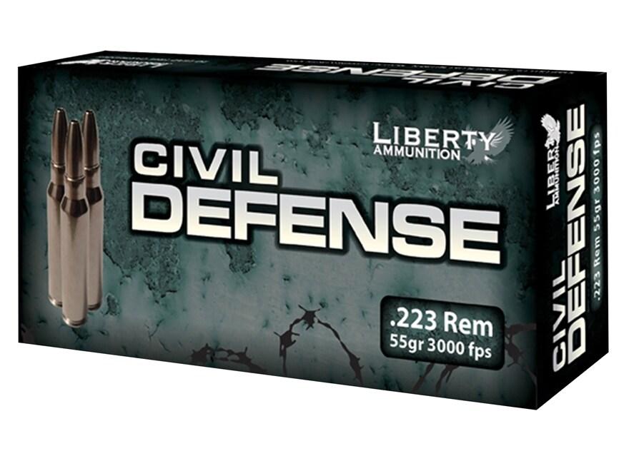 Liberty Civil Defense Ammunition 223 Remington 55 Grain Fragmenting Hollow Point Lead-F...