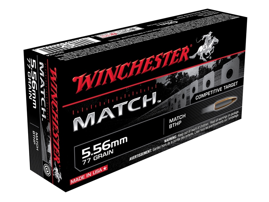 Winchester Match Ammunition 5.56x45mm NATO 77 Grain Sierra MatchKing Hollow Point Boat ...