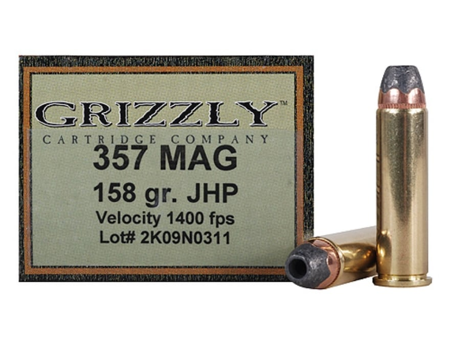 Grizzly Ammunition 357 Magnum 158 Grain Jacketed Hollow Point Box of 20