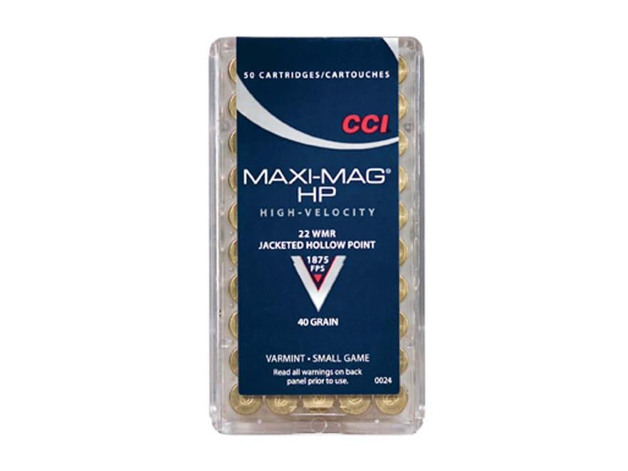 CCI Maxi-Mag Ammunition 22 Winchester Magnum Rimfire (WMR) 40 Grain Jacketed Hollow Point