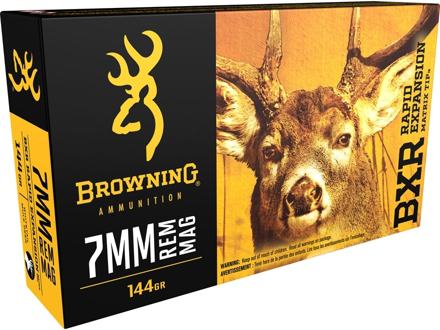 Browning BXR Rapid Expansion Ammunition 7mm Remington Magnum 144 Grain Matrix Tip