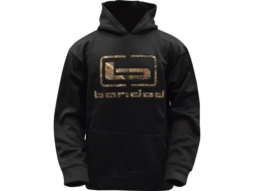 Banded Logo Hoodie Black Polyester