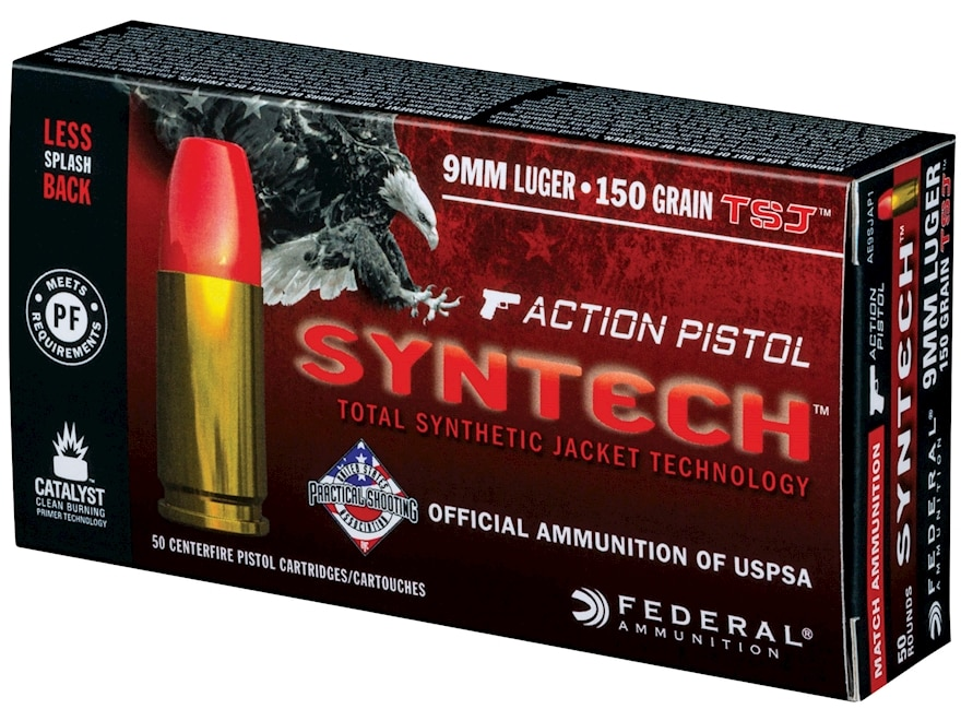Federal American Eagle Syntech Action Pistol Ammunition 9mm Luger 150 Grain Total Synth...