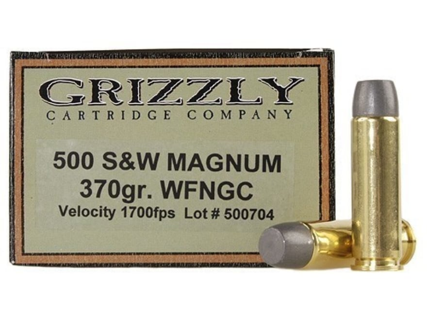 Grizzly Ammunition 500 S&W Magnum 370 Grain Cast Performance Lead Wide Flat Nose Gas Ch...