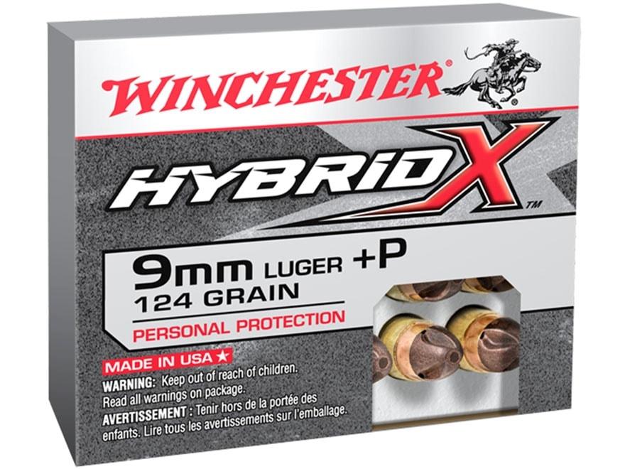 Winchester Hybrid-X Ammunition 9mm Luger +P 124 Grain Hybrid Polymer Tipped Copper-Jack...