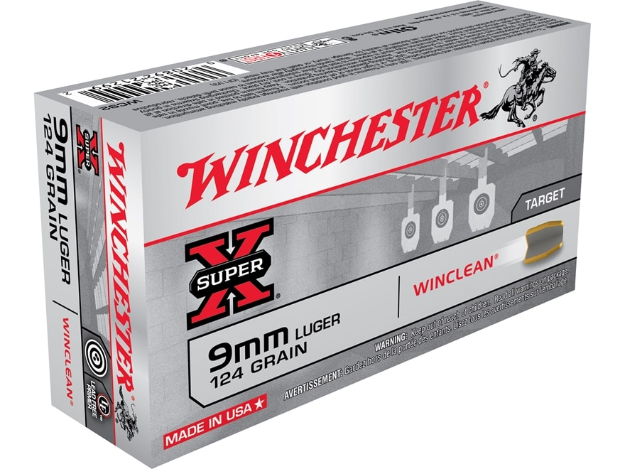 Winchester WinClean Ammunition 9mm Luger 124 Grain Brass Enclosed Base