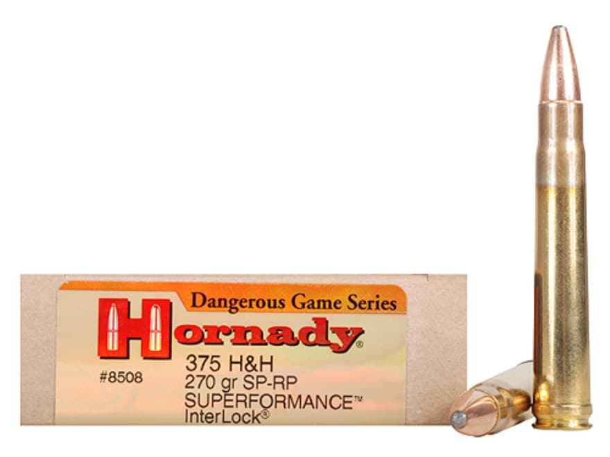 Hornady Dangerous Game Superformance Ammunition 375 H&H Magnum 270 Grain Spire Point Re...