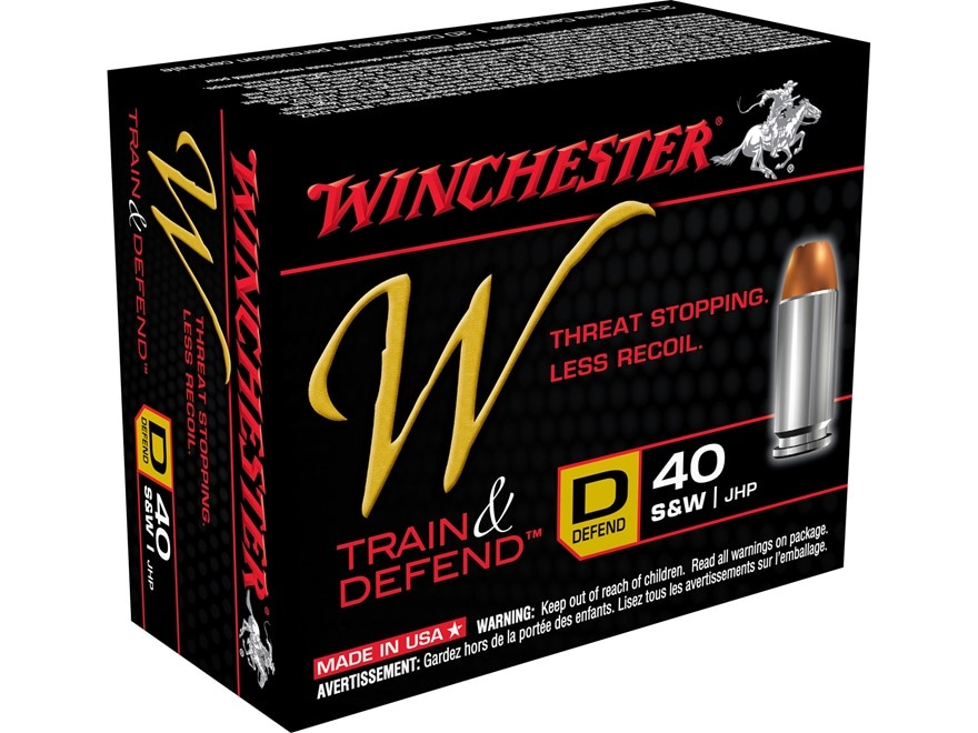 Winchester W Defend Reduced Recoil Ammunition 40 S&W 180 Grain Jacketed Hollow Point