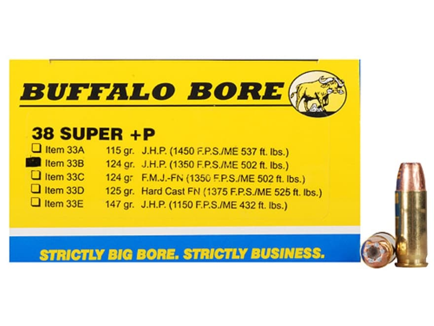 Buffalo Bore Ammunition 38 Super +P 124 Grain Jacketed Hollow Point Box of 20