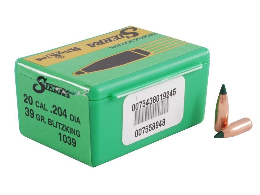 Sierra BlitzKing Bullets 20 Caliber (204 Diameter) 39 Grain Boat Tail