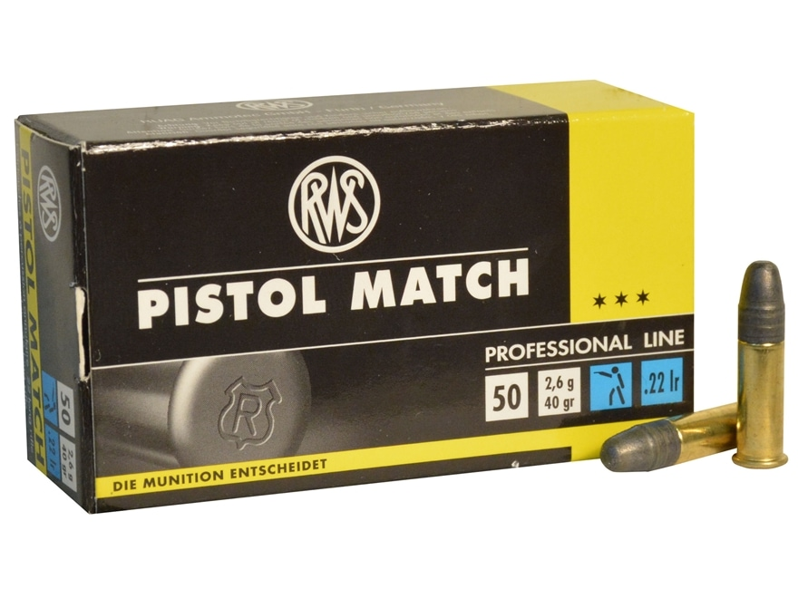RWS Pistol Match Ammunition 22 Long Rifle 40 Grain Lead Round Nose Box of 50