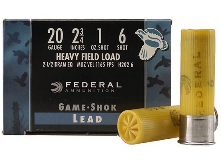 "Federal Game-Shok Heavy Field Load Ammunition 20 Gauge 2-3/4"" 1 oz #6 Shot Box of 25"