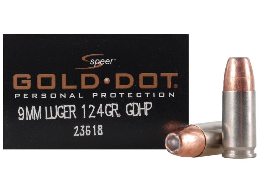 Speer Gold Dot Ammunition 9mm Luger 124 Grain Jacketed Hollow Point